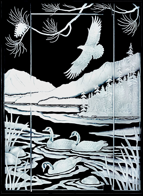 etched glass mountain scene with eagle and geese, pine trees, pine cone, pine branches