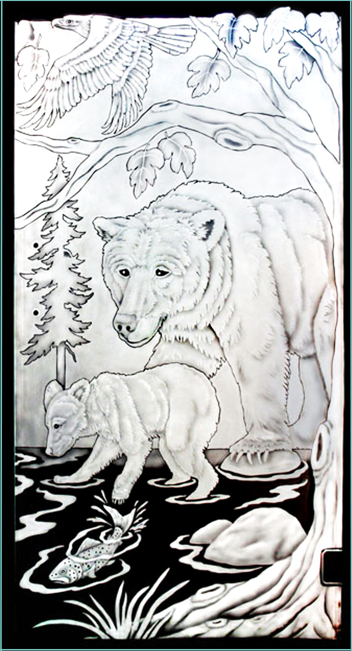 etched glass bear