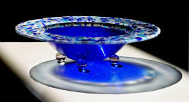 fused glass decorative bowl with dichroic glass, blues and clear