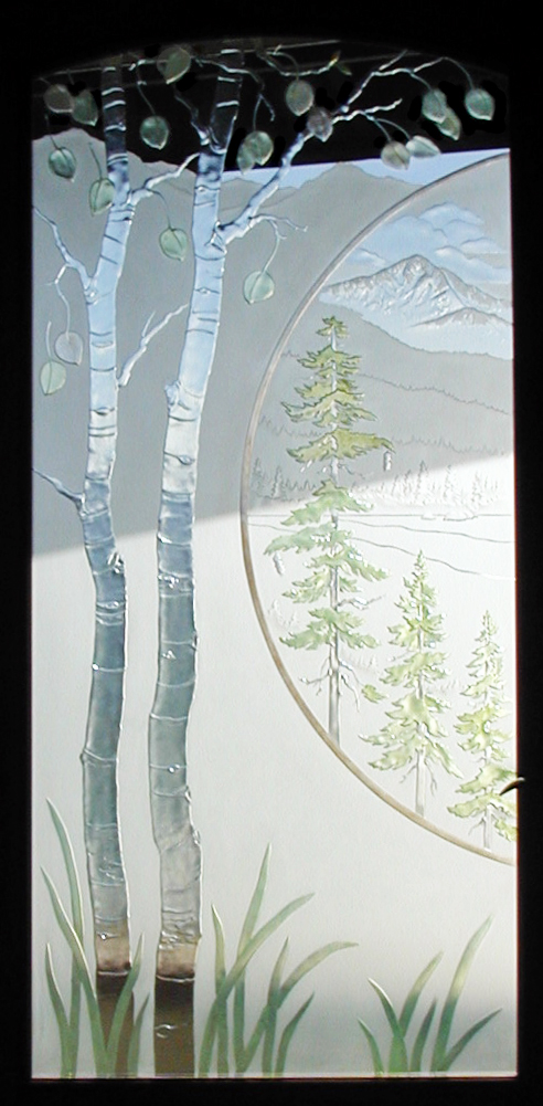 aspen trees and lake scene, painted glass doors windows, etched glass, frosted carved