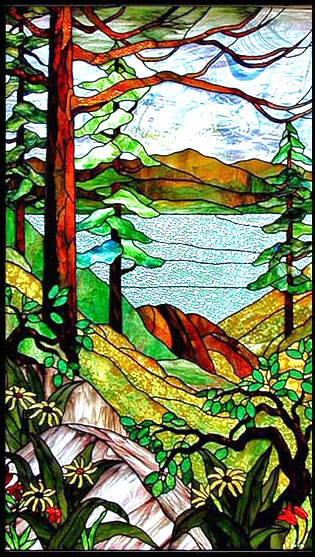 stained glass lake scene, tiffany style