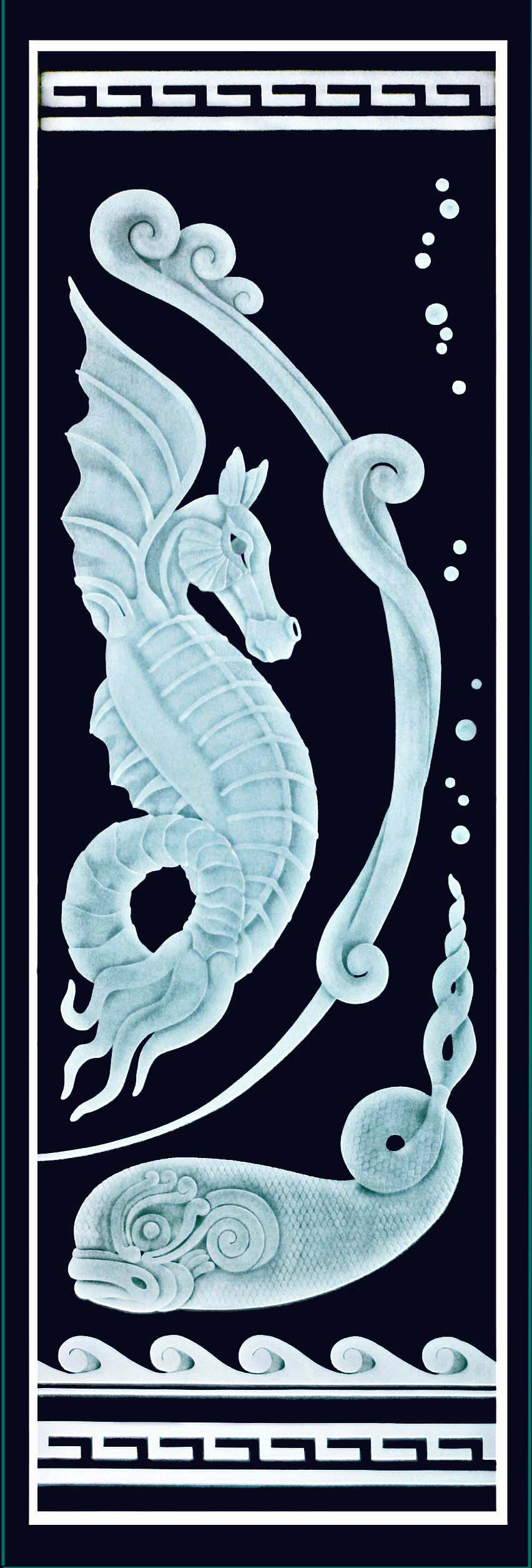 sea dragon, sea horse, fantasy, etched glass, carved  frosted, door,