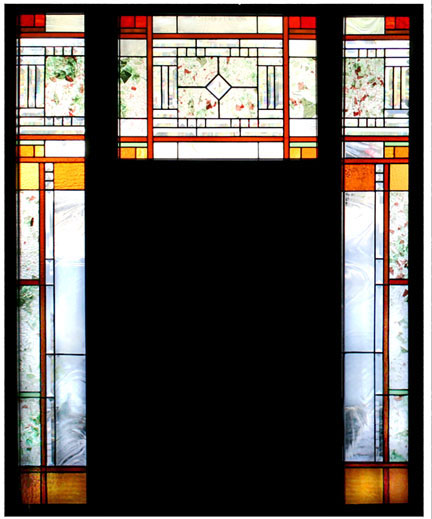 stained glass entry, door, sidelights.  Beveded glass, colored glass. Craftsman style design